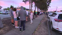 Queues of people waiting to be tested at the COVID-19 in Shepparton again on Thursday morning.