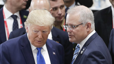 Donald Trump and Scott Morrison at the G20 Summit in Japan.