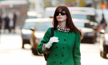 Anne Hathaway during one of the many iconic moments from The Devil Wears Prada.