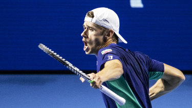 Making a point: Alex De Minaur celebrates during his semi-final against Reilly Opelka of the United States at the Swiss Indoors tennis tournament in Basel, Switzerland.