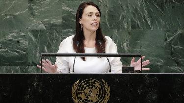 Jacinda Ardern addresses the United Nations General Assembly last week.