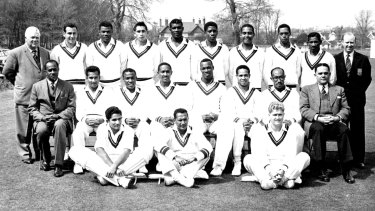 Butcher (back row, second from right) with the 1963 West Indies side featuring captain Frank Worrell and all-rounder Garfield Sobers (seated fourth and sixth from left).