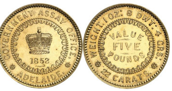 The five pound coin minted in Melbourne that sold at a Monaco online auction on Saturday.