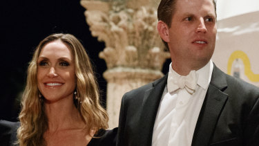 """Lara Trump, pictured with husband Eric, said the shutdown was """"a little bit of pain"""" for the country's future."""