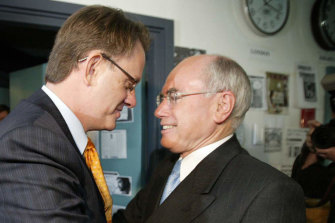 Mark Latham, left, was ahead of Prime Minister John Howard in the polls before losing the election in 2004.