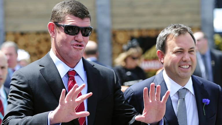 Billionaire James Packer and his then closest adviser, UBS boss Matthew Grounds, in 2012.