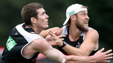 Two talls or too tall? Come September, the Magpies may have to leave out one of Mason Cox or Ben Reid.
