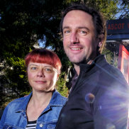 Eleesa Jewell and Logan Shield in front of the Ascot Vale Little Free Pantry.
