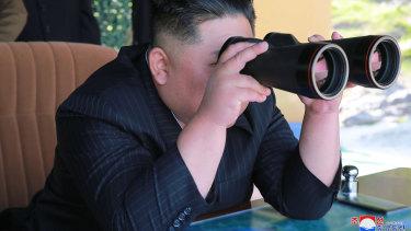 North Korean leader Kim Jong-un observes a military test on Thursday.