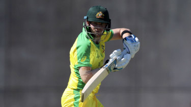 Controlled: Steve Smith in action during Australia's victory over the West Indies.