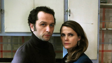 "Matthew Rhys, left, and Keri Russell appear in a scene from ""The Americans"", the show inspired by the Russian spy family."