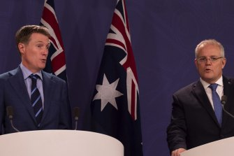 Prime Minister Scott Morrison, right, and Attorney-General Christian Porter announce the updated draft to the religious discrimination bill.