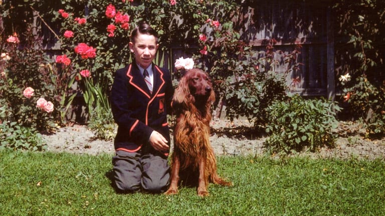 Hugh Wirth as a schoolboy at Xavier with his red setter.