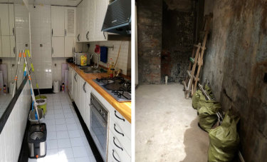 The before and after photos of the Xikang Road property Ashleigh Howe leased from Johan L.E.