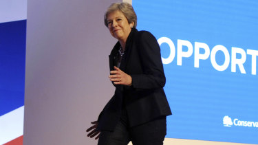 British Prime Minister Theresa May danced her way on stage to ABBA.