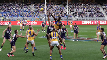 West Coast's Nic Natanui got the better of Sean Darcy in the season's only western derby.