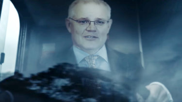 A depiction of Scott Morrison as a bus driver from the ETU and CFMMEU's ad against the government's industrial relations overhaul.