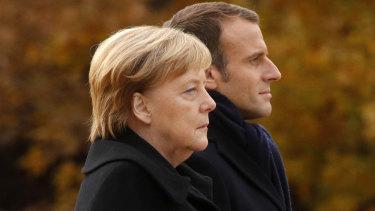 German Chancellor Angela Merkel (left) echoed calls from French President Emmanuel Macron (right) to establish a European army.