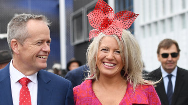 Former Federal Opposition leader Bill Shorten and his wife Chloe at Flemington's Birdcage in 2014.