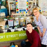 Jane Seaton with Perth MP John Carey with the Lego entries on Love Your Bookshop Day.