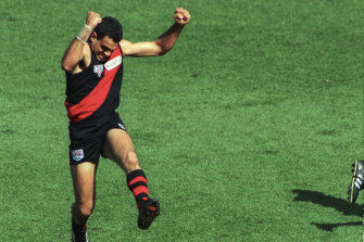 Michael Long leaps for joy after his defining goal in Essendon's 1993 premiership.