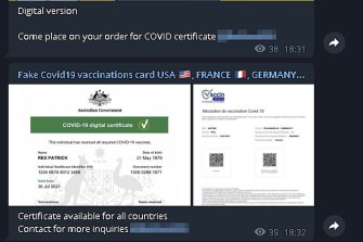 Fake Australian vaccination certificates are for sale on Telegram for as low as $110.