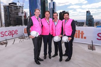 Craig Carracher (left) with the co-founders of Scape, Australia's largest student accommodation provider.