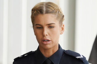 Constable Rachel Miller at court on Friday.