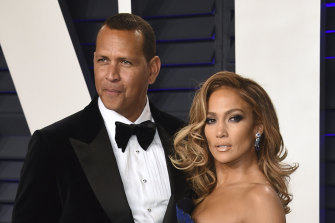 Alex Rodriguez and Jennifer Lopez, pictured at the Vanity Fair Oscars Party in 2019.