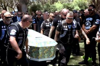 Patched Rebels members carry Nick Martin's coffin into Pinnaroo Valley Memorial Park.