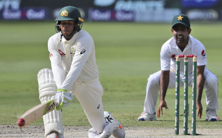 Tricky customer: Khawaja's reverse-sweeping was a highlight of his batting in Dubai.