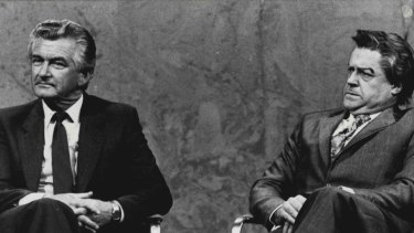 Then-prime minister Bob Hawke and his double Max Gillies on the set of Parkinson in 1983.