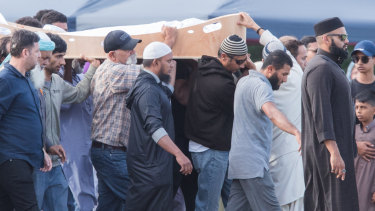 The funeral for one of 50 victims of the mosque shootings at Memorial Park Cemetery in Christchurch.
