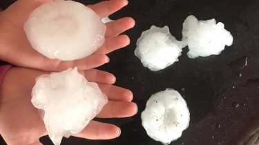 Large hailstones fell at Athol, about 25 kilometres south-east of Toowoomba.
