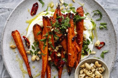 Chilli-roasted carrots with cashews.