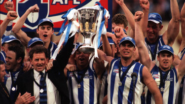 North Melbourne celebrate their 1999 flag