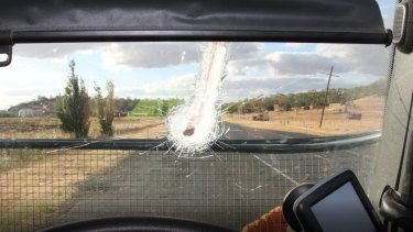 The woman was impaled by the metal rod that bounced off the road and smashed through her windscreen.