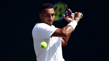 Full swing: An in-form Nick Kyrgios is progressing well at this year's Wimbledon.