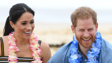 Prince Harry and Meghan on Bondi Beach.