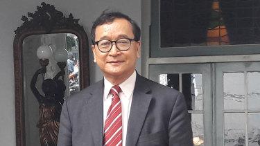 Exiled Cambodian opposition leader Sam Rainsy in Jakarta.