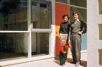 The Zwar family, with Nick Zwar as a child, at their Seidler-designed house in Canberra.