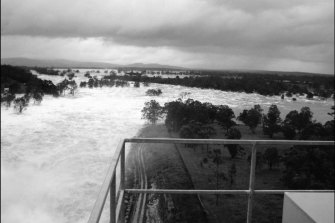 Water being released from Wivenhoe Dam on January 11, 2011. The dam reached its highest-ever level on this day.