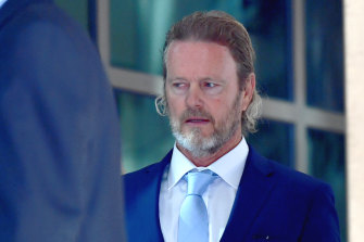 Actor Craig McLachlan arrives at court on Monday.