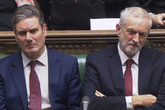Keir Starmer, left, is expected to move the British Labour Party more to the centre, away from the leftist policies of his predecessor Jeremy Corbyn, right.