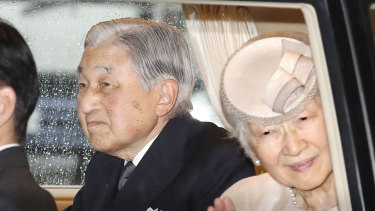 Emperor Akihito and Empress Michiko on their way to visiting Ise Grand Shrine.