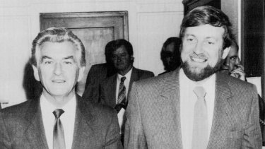 Bob Hawke and Gareth 'Biggles' Evans celebrate the High Court's dams decision in 1983.