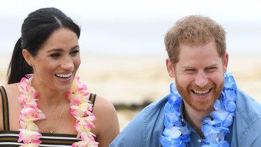 Prince Harry and Meghan on Bondi Beach.
