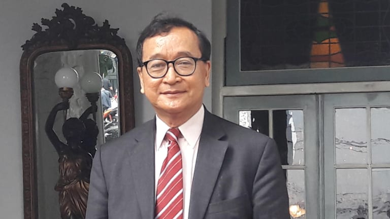 Exiled Cambodian opposition leader Sam Rainsy in Jakarta.