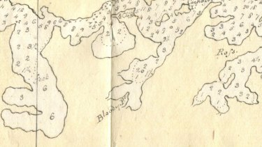 Detail in 1788 chart drawn by William Bradley showing Bloody Point.