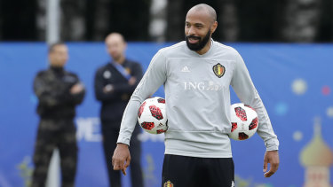 Thierry Henry during his coaching role with Belgium at the World Cup.